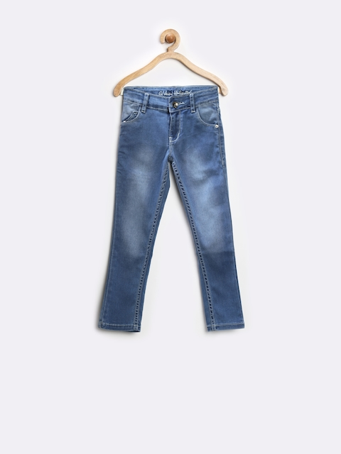 GJ Unltd Jeans by Gini and Jony Girls Blue Washed Stretchable Jeans