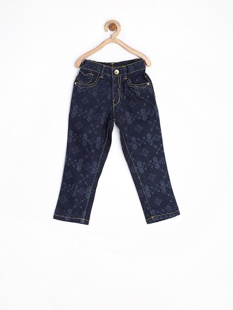 Gini & Jony Girls Blue Printed Stretchable Jeans