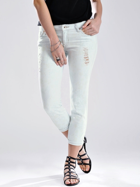 GUESS Light Blue Crop Skinny Fit Printed Stretchable Jeans