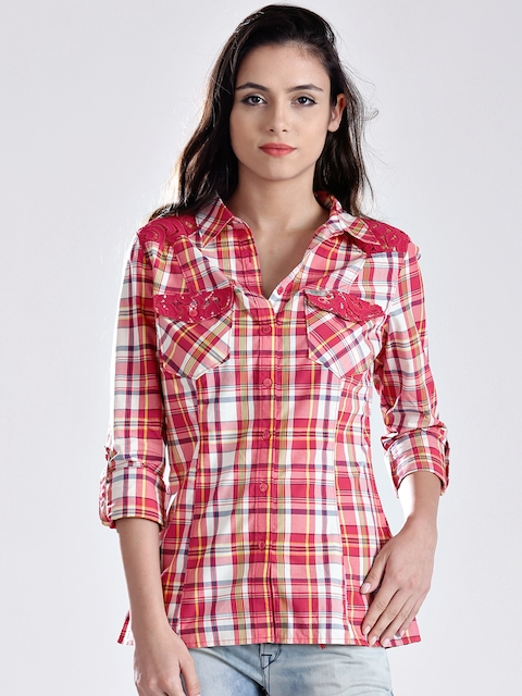 GUESS Red & Off-White Checked Shirt
