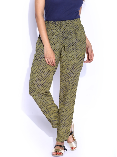 Pepe Jeans Green Printed Trousers