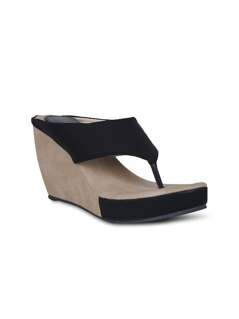 Shoetopia Women Black Wedges