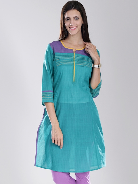 Fabindia Teal Green Striped Handwoven Kurta
