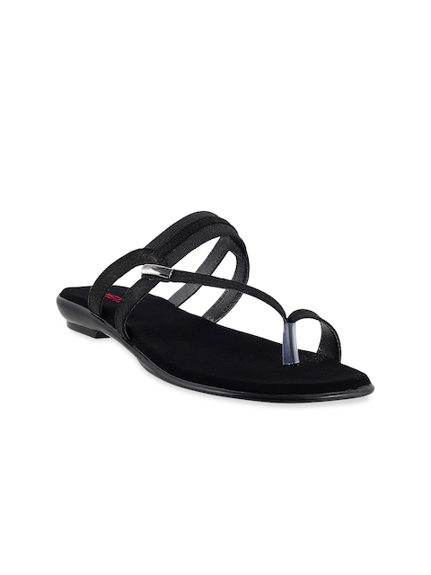 Metro Women Black One-Toe Flats