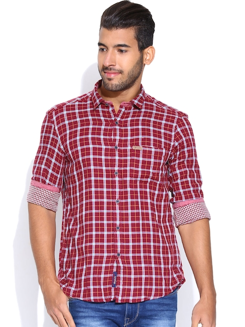 U.S. Polo Assn. Maroon Checked Casual Shirt
