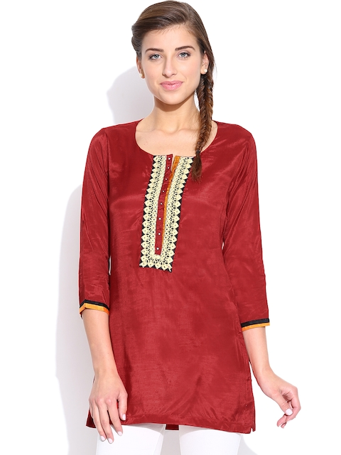 BIBA Red Embroidered Kurti with Mirror Work  available at myntra for Rs.479