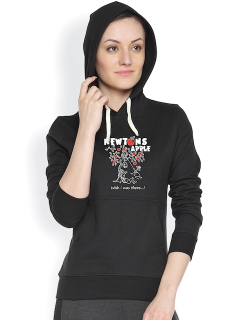 Campus Sutra Black Printed Sweatshirt