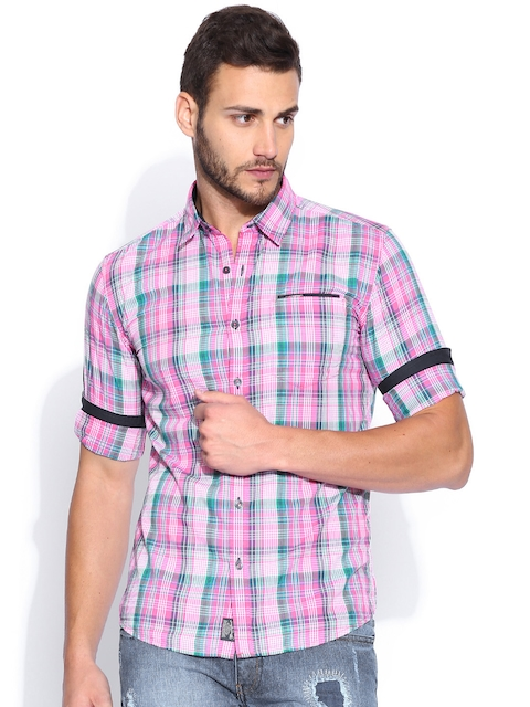 Wrangler Pink & Green Slim Fit Checked Casual Shirt