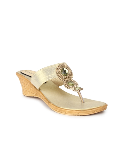 Shoetopia Women Gold-Toned Embellished Wedges