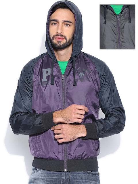 Proline Purple & Grey Reversible Hooded Bomber Jacket