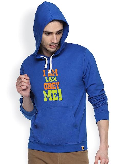 Campus Sutra Blue Printed Hooded Sweatshirt