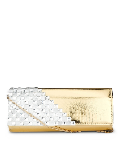 Swiss Design Gold-Toned & White Clutch  available at myntra for Rs.734