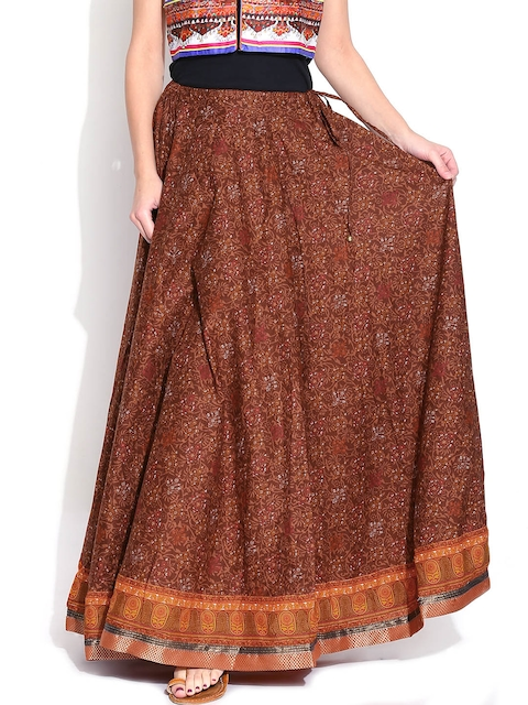 BIBA Brown Printed Flared Maxi Skirt
