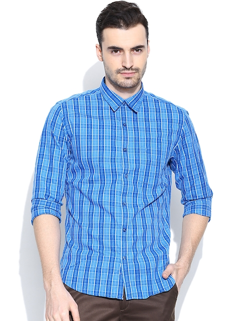 John Players Blue Checked Trim Fit Casual Shirt