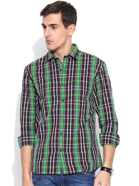 John Players Brown Checked Trim Fit Casual Shirt