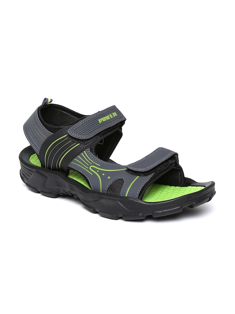 Power by Bata Men Dark Grey Sports Sandals