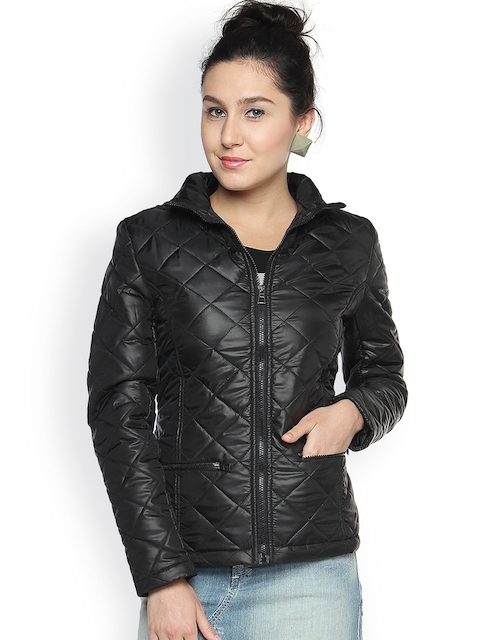 Campus Sutra Black Thermal Bomber Jacket