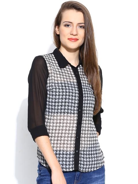 Vero Moda Black & Off-White Printed Sheer Casual Shirt