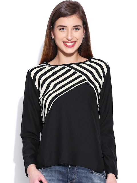 United Colors of Benetton Black Striped Top