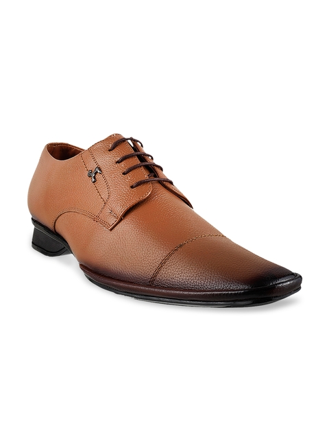 Mochi Men Tan Brown Leather Formal Shoes