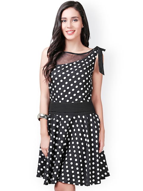 Eavan Black & White Polka Dot Print Fit & Flare Dress  available at myntra for Rs.849