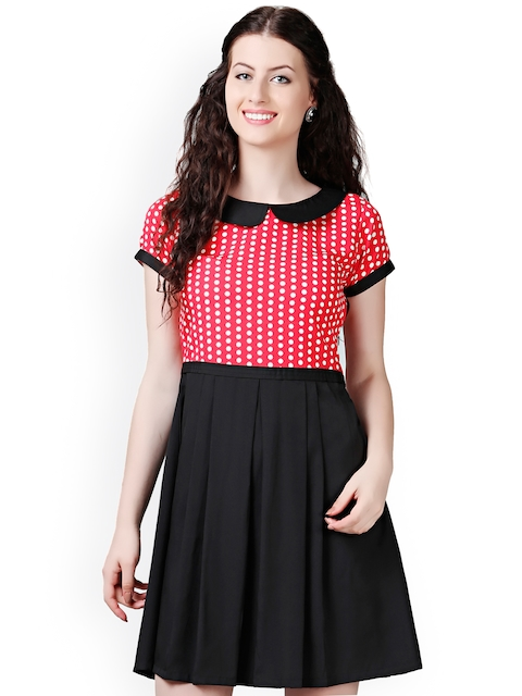 Eavan Black & Red Polka Dot Print Fit & Flare Dress  available at myntra for Rs.599