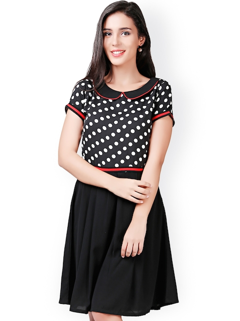 Eavan Black Polka Dot Print Fit & Flare Dress  available at myntra for Rs.679