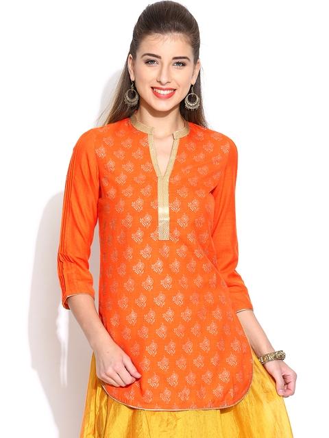 BIBA Orange Printed Kurti  available at myntra for Rs.449