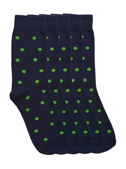 Tossido Men Set of 5 Navy Polka Dot Socks