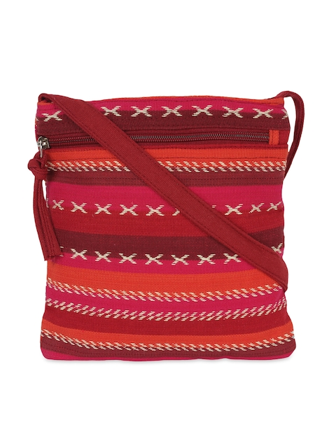 Anekaant Red & Pink Striped Sling Bag  available at myntra for Rs.174
