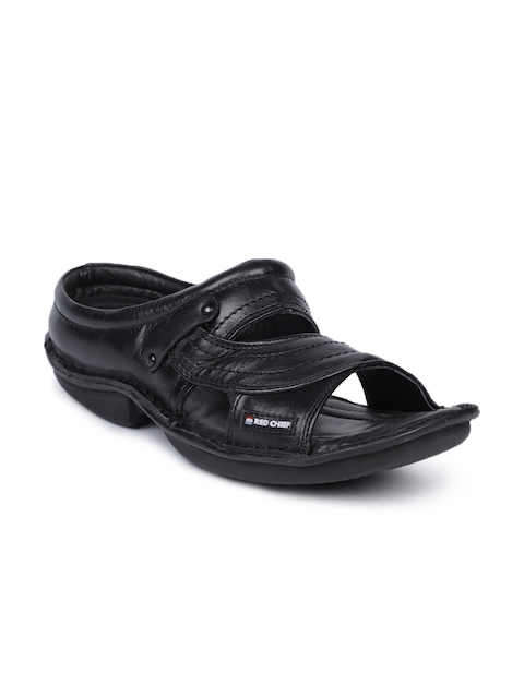 Red Chief Men Black Sandals