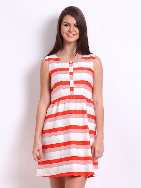 American Swan Red & White Striped Fit & Flare Dress