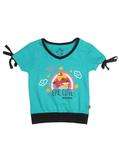 Angry Birds Girls Green Printed T-shirt
