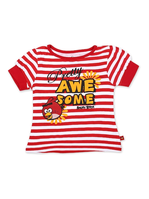 Angry Birds Girls Red & White Striped Top