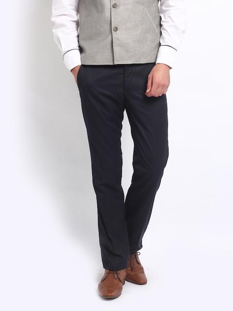 Arrow Men Navy Slim Fit Formal Trousers
