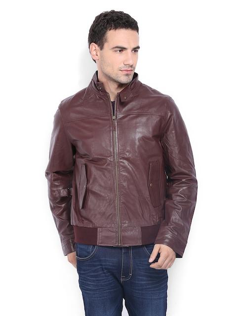 Arrow Sport Men Brown Leather Jacket