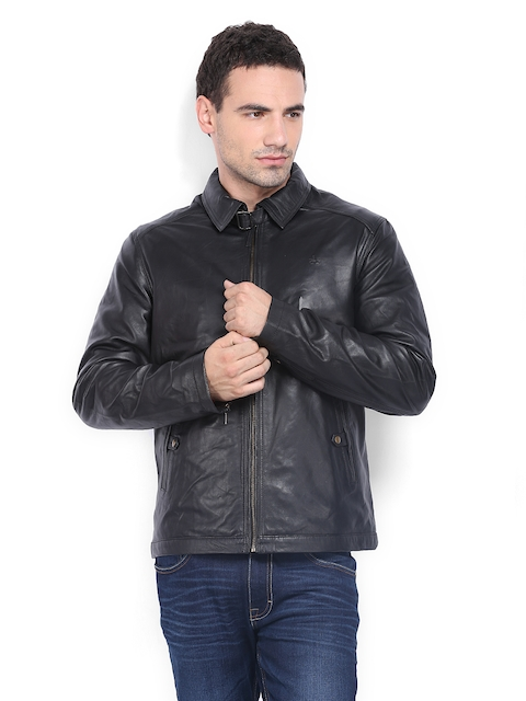 Arrow Sport Men Black Leather Jacket