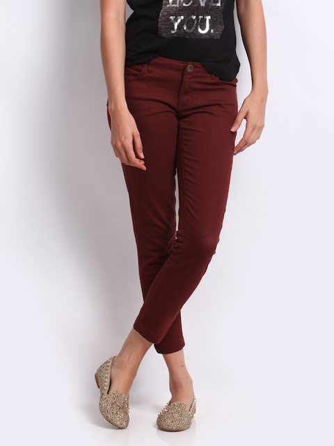 Arrow Woman Brown Slim Fit Cropped Trousers