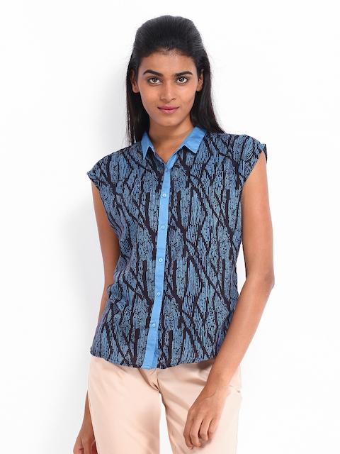 Arrow Woman Black & Blue Printed Formal Shirt