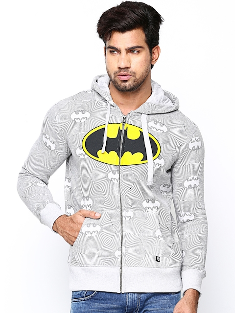 Batman Men Grey Melange Hooded Printed Sweatshirt