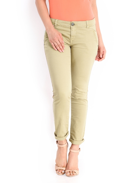 Being Human Clothing Women Beige Slim Fit Chino Trousers