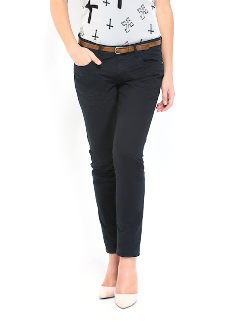 Being Human Clothing Women Black Slim Fit Chino Trousers
