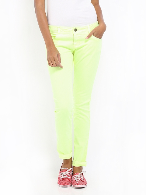 Being Human Clothing Women Fluorescent Green Slim Fit Chino Trousers