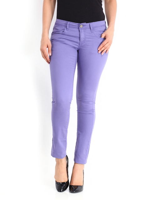 Being Human Clothing Women Lavender-Coloured Slim Fit Chino Trousers
