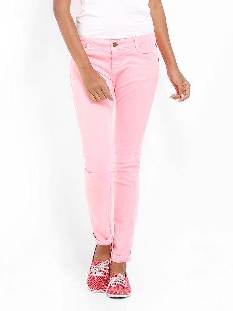 Being Human Clothing Women Neon Pink Slim Fit Chino Trousers