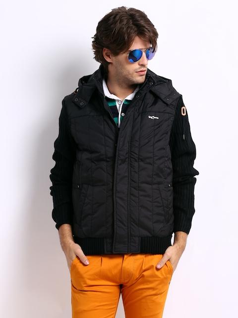 Being Human Clothing Men Black Padded Hooded Jacket