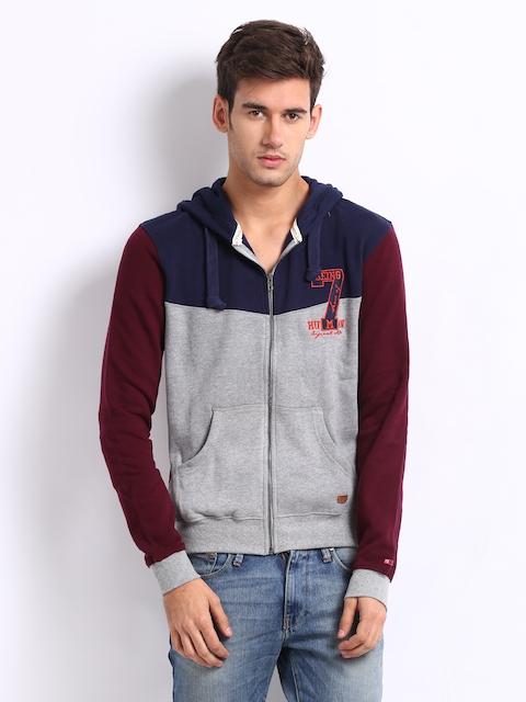 Being Human Clothing Men Grey Melange & Burgundy Hooded Sweatshirt