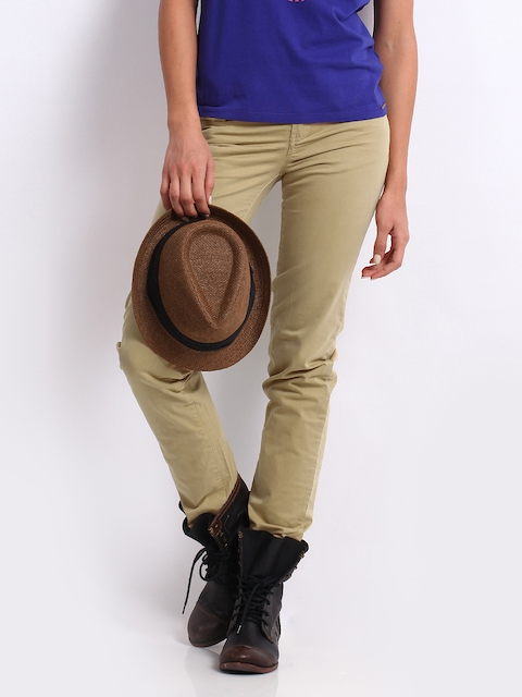 Being Human Clothing Women Beige Slim Fit Chinos