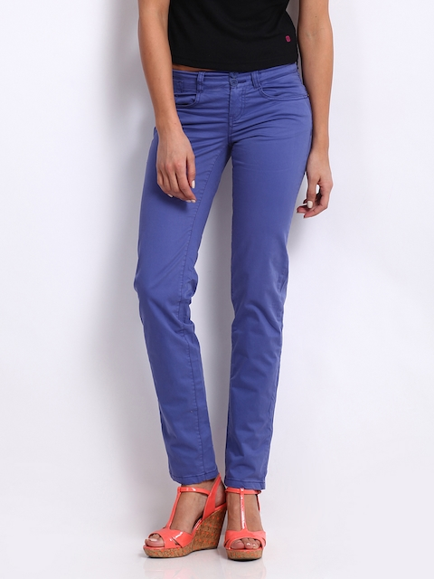 Being Human Clothing Women Blue Slim Fit Chino Trousers