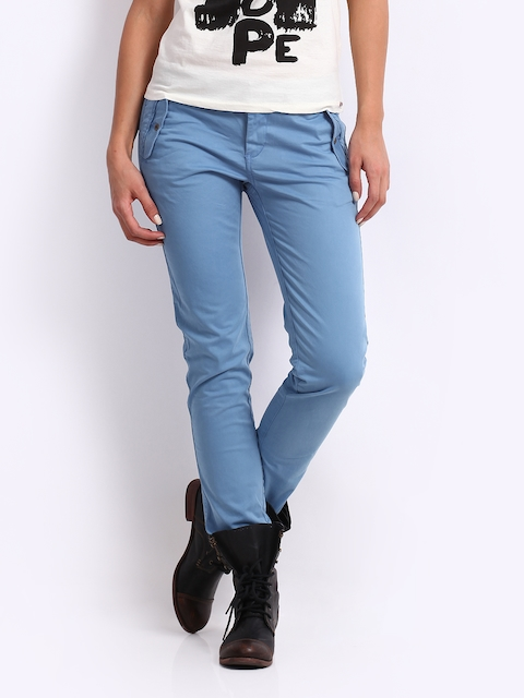 Being Human Clothing Women Blue Slim Fit Chinos